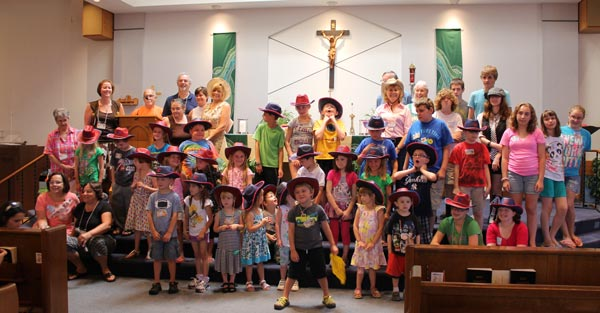 The entire vacation bible school group -- students, teachers and volunteers -- posed for a photo.